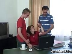 daddy and son group-sex old floozy