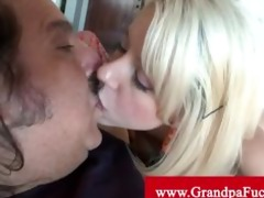 granddad bonks blonde teen from behind