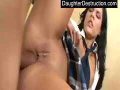 cute youthful teen daughter drilled hard