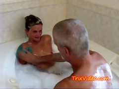 dad bathes his legal age teenager step-daughter