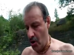 superb babe rides grandpa&#91010 s penis in