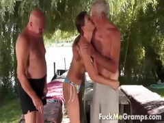 two old perverts fortunate with sexy legal age