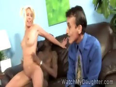 charming blonde legal age teenager rides massive