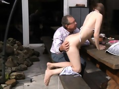 oldman fucks beautiful beata in his backyard