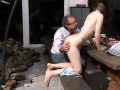 oldman fucks beautiful beata in his backyard