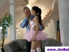 hot ballerina sucking off old dude