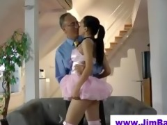 hot ballerina engulfing off old chap